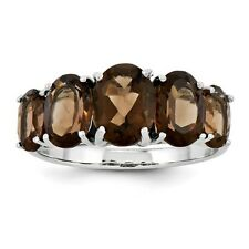 Sterling Silver Five Stone Oval Cut Smoky Quartz Ring 1.82 gr Size 6 to 8