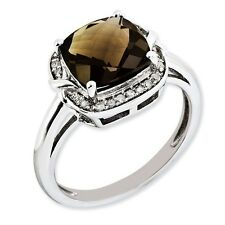 Sterling Silver Square Smoky Quartz & .10 CT Diamond Ring 2.94 gr Size 5 to 10
