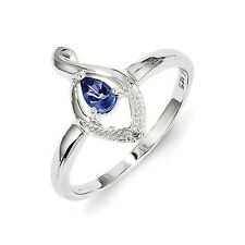 Sterling Silver Pear Cut Tanzanite & Diamond Accent Ring 1.67 gr Size 6 to 9