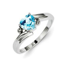 Sterling Silver Heart Cut Blue Topaz & .01 CT Diamond Ring 1.94 gr Size 6 to 9