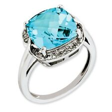 Sterling Silver Square Blue Topaz & .12 CT Diamond Ring 3.57 gr Size 5 to 10