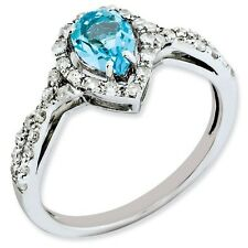 Sterling Silver Pear Cut Blue Topaz & .20 CT Diamond Ring 1.75 gr Size 5 to 10