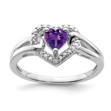 Sterling Silver Heart Shaped Amethyst & .01 CT Diamond Ring 2.04 gr Size 6 to 9