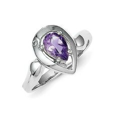 Sterling Silver Pear Shaped Amethyst & Diamond Accent Ring 2.48 gr Size 6 to 8
