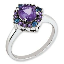 Sterling Silver Round Amethyst & Tanzanite Cluster Ring 3.15 gr Size 5 to 10