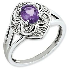 Sterling Silver Round Amethyst & .05 CT Diamond Ring 2.85 gr Size 5 to 10