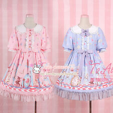 Sweet Lolita Fairytale Lace Bow Print Cute Kawaii Japanese Dolly Princess Dress