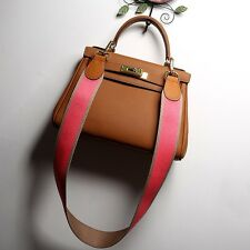 Women Leather Lock Top-handle Handbag Wide Shoulder Messenger Bag Purse Satchel
