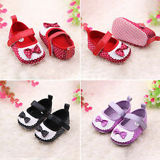 Baby Girls Bow Polka Dot Crib Soft Sole Cute Prewalker Toddler Infant Pram Shoes