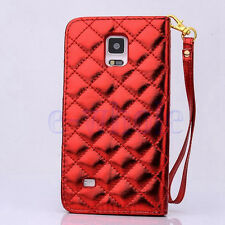 Premium Leather Handbag Wallet Case Bling Diamond For Samsung Galaxy Note 4 DT