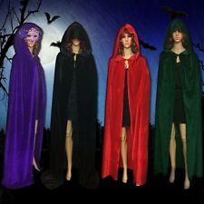 Costume Vampire Witchcraft Cape Gothic Hooded Velvet Cloak Wicca Robe Halloween