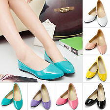 NEW Womens Ballet Casual Patent Boat Shoes Flats Dolly Pumps Pointed Toe Sandals