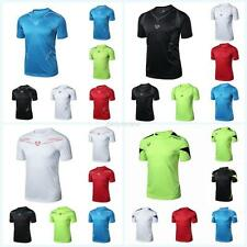 Mens T-Shirt Fitness Muscle Gym Quick Dry Stretch Top Tee Shirt Running M-2XL