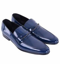 DOLCE & GABBANA Patent Leather Logotype Logo Business Loafer Shoes Blue 04210