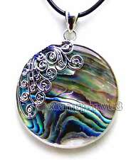 SALE Big 35mm Round Natural Blue Multicolor abalone shell pendant -pen86
