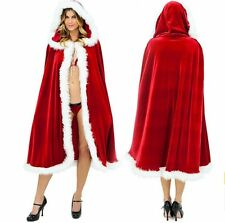 Red Santa Claus Cloak Hooded Father Christmas Dress Cosplay Costume Velvet Cape