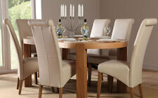 Clifton Oval Oak Dining Table and 6 Chairs Set (Boston Ivory)