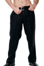 Mens 100% Linen Black Casual Flat-Front Dress Pants in Sizes ( 30 ~40 ) - MLP50