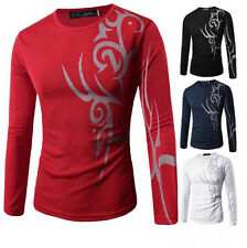 Top T-Shirt Round Neck Long Sleeve Print Slim Fit Mens Casual Tattoo