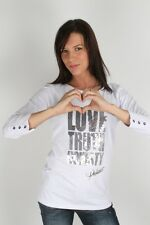 Parasuco Ladies White Sequin 8-LTH Love Truth Top 3/4 Long Sleeve Shirt $75 CAD