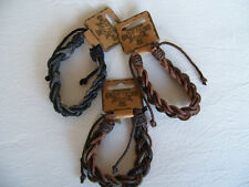 1x Mens Boys Twisted Leather Cord Bracelet-2593  In 3 Colours
