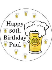 30-90 PRE-CUT EDIBLE WAFER CUP CAKE TOPPERS BEER DRINKER BIRTHDAY CELEBRATIONS