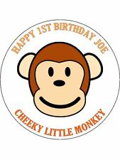 30-90 PRE-CUT EDIBLE WAFER CUP CAKE TOPPERS PERSONALISED CHEEKY MONKEY ANY NAME