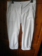 """""""H&M"""" LADIES WHITE LINEN MIX CROPPED TROUSERS SIZE 12!!!"""
