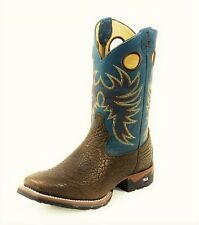 TONY LAMA Men's TLX Brown Green Square Toe Leather Western Work Boots XT6017 8.5