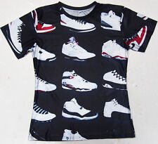 Michael Jordan Basketball Shoes Graphic All Over Black Mens Short Sleeve T-shirt
