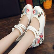 Chinese Traditional Women's Mary jane Flower embroidery Flat Oxford Gril Shoe sz