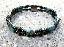 Magnetic Bracelet Gemstone 11 Choices Double Strength w Diamond Shaped Hematite
