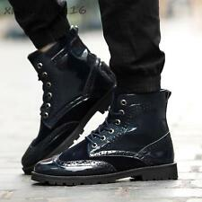 Men' Brogue Patent Leather Oxford Lace-up With fur Winter Casual Snow Ankle Boot