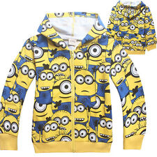 Kids Boys Girls Cartoon Zipper Sweatshirts FULL Minions Despicable Me Hoodies