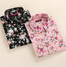 Blouse Floral Blouses Long Sleeve Shirt Tops Collar Blouses Turn Down