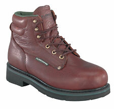 Florsheim Mens Brown Leather 6in Work Boots Utility Steel Toe
