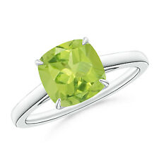2.30 Ct Cushion cut Solitaire August Birthstone Peridot Ring in 14k White Gold
