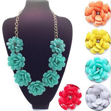 Crystal Choker Fashion Jewelry Pendant Chain Chunky Statement Flowers Necklace