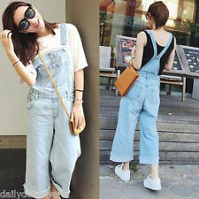 Fashion Womens Denim Jeans Casual Strappy Overall Loose Pants Jumpsuit Chic
