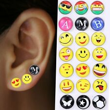 Lots Of 12pairs Cute Emoji Happy Face Ear Studs Earrings Women Party Jewelry New