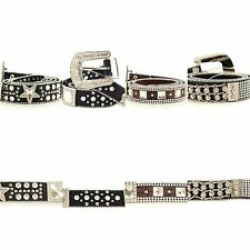 Belt Rhinestone Western Genuine Leather Horsehair Alligator Removable Buckle