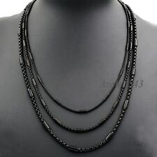 "2/3/4MM 18""~36"" MENs BOYs Black Tone Tube Box Stainless Steel Chain Necklace"