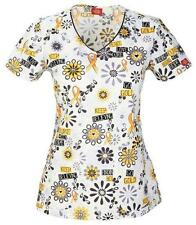 "XDickies ""Peace Love Cure"" Childhood Cancer Awareness Scrubs Top DK700X14 PACU"