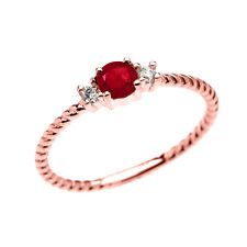 14k Rose Gold Dainty Solitaire Ruby & White Topaz Rope Promise Stackable Ring