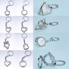 Living Locket Memory Floating Magnetic Charms Key Chain Crystal Heart Round Gift