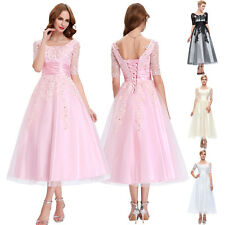 New Pink Bridesmaids Formal Illusion Sleeve Lace Gown Evening Prom Party Dress