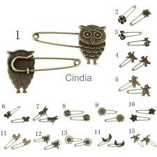 10 Bronze Retro Alloy Handmade Pins Scarf Brooches Crafts Jewelry for Gift