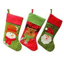 Christmas Stockings Sack Sock Gift Bag Filler Deer Santa Xmas Hanging Decoration