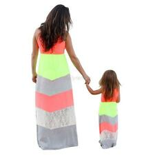 Kids Parent Outfit Mother Daughter Dress Family Girl Women Lace Party Maxi Dress