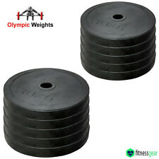 "2"" Olympic Rubber Weight Plates Gym Body Building Crossfit Disc 5cm 10kg"